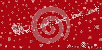 Santa en trineo con los renos y los copos de nieve