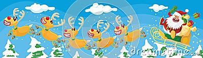 Santa et rennes dans une hâte