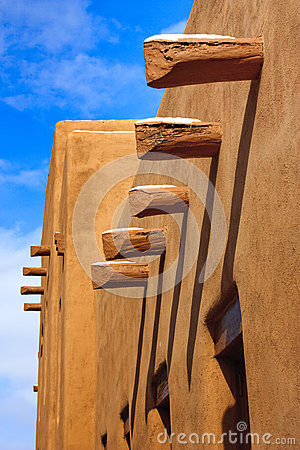 Santa Fe New Mexico Adobe Walls Long Shadows Blue