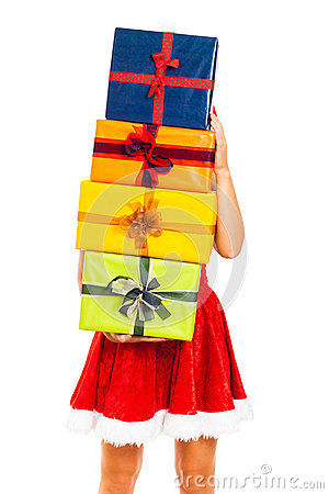 Santa female with pile of Christmas gifts