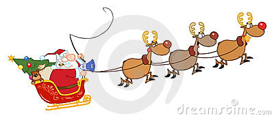 Santa in flight with his reindeer and sleigh