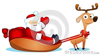 Santa with fun deer