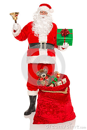Santa with gifts and a bell