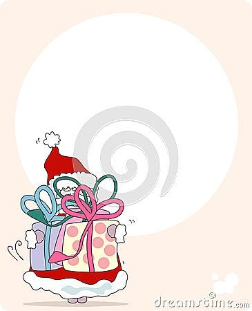 Santa with gifts. greeting card
