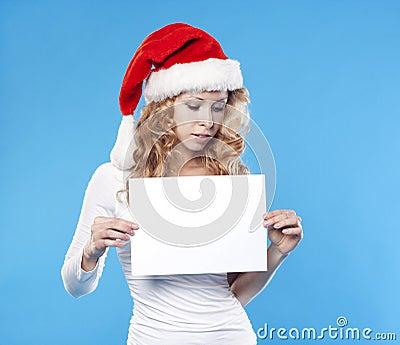Santa girl with a blank