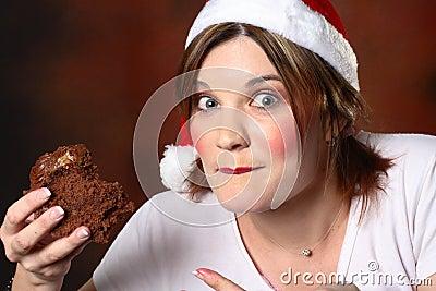 Santa girl with cake