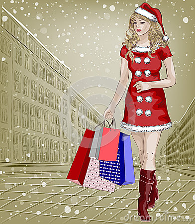 Santa girl with christmas shopping packages on cit