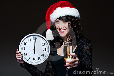 Santa girl with clock and glass