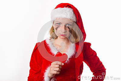 Santa girl cries humor heart