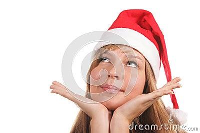Santa girl looking up