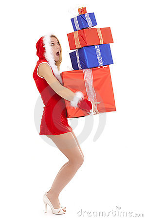 Santa girl overloaded
