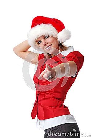 Santa girl pointing