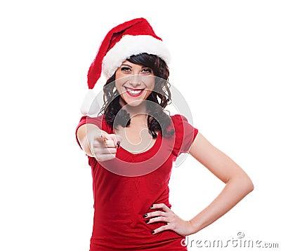 Santa girl pointing at you