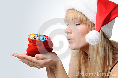 Santa Girl with a red bag Christmas toys