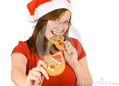 Santa girl with red specs and gingerbread