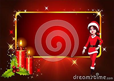 Santa girl running on red background