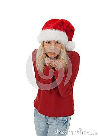 Santa girl sending a kiss