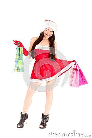 Santa girl with shopping bags