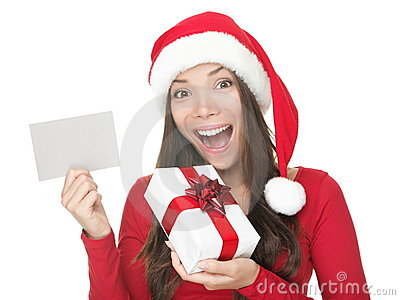Santa girl showing blank sign
