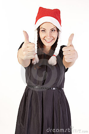 Santa girl showing hand ok sign