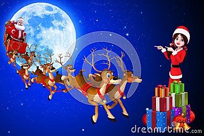 Santa girl is showing sleigh