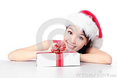 Santa girl smile face with christmas gift