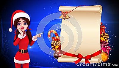 Santa girl standing before a big sign
