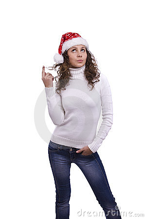 Santa girl is thinking about something