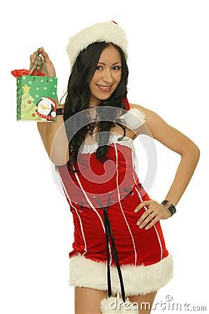 Santa girl tiny happy gifts