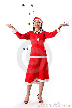 Free Santa Girl Tiny Happy Gifts Royalty Free Stock Images - 3383829
