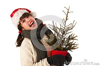Santa girlwith Christmas tree