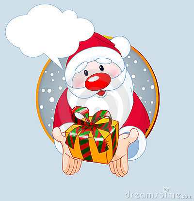 Santa  giving a gift card