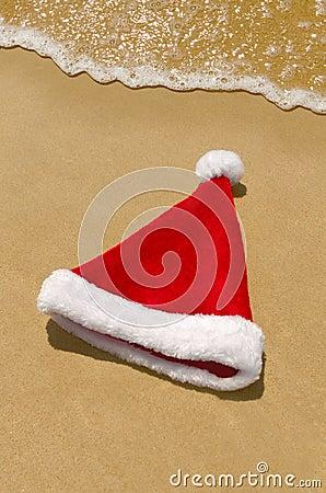 Santa goes for a swim