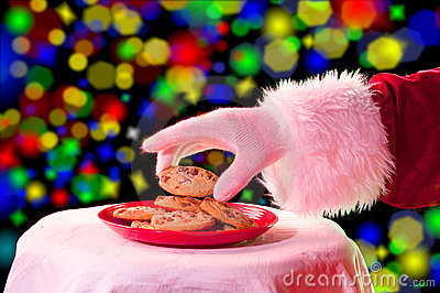 Santa grabbing a cookie