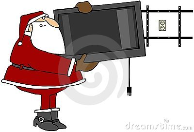 Santa Hanging A Flat Screen TV