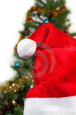 Santa hat on the background of trees