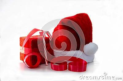 Santa hat with red box and ribbon
