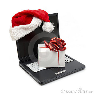 Santa Hat on a Laptop