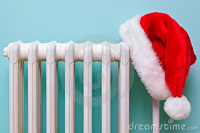 Santa hat on a radiator