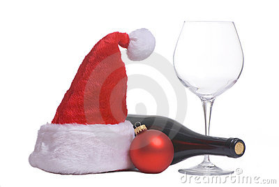 Santa hat and wine