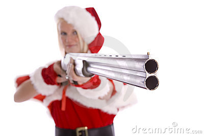 Santa helper aiming shotgun