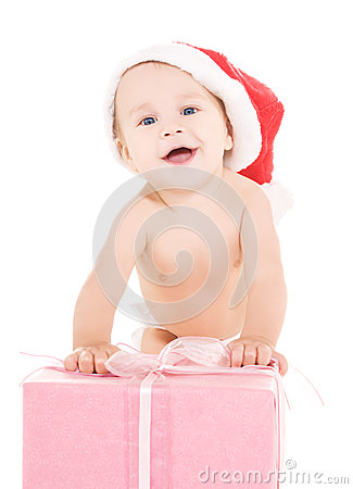 Santa helper baby with christmas gift