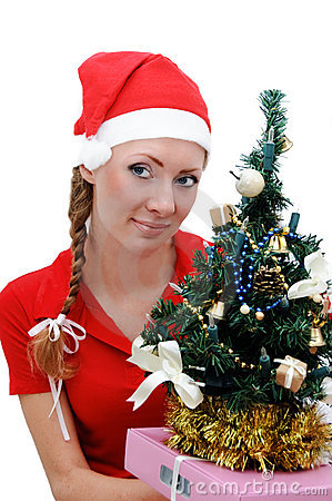 Santa helper with Christmas tree and gifts