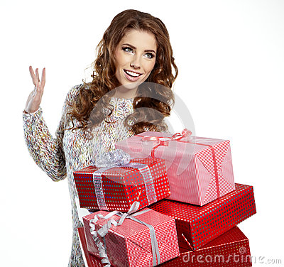 Santa helper girl with gift box