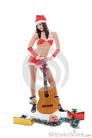 Santa helper girl with guitar