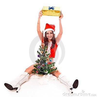 Santa helper girl holding a gift box