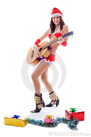 Santa helper girl playing guitar