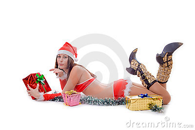 Santa helper girl sending air kiss