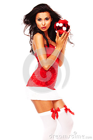 Santa helper girl on white background