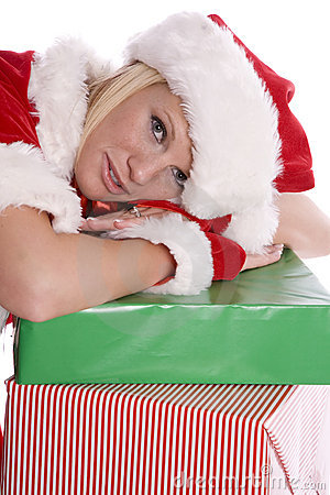 Santa helper head down on presents
